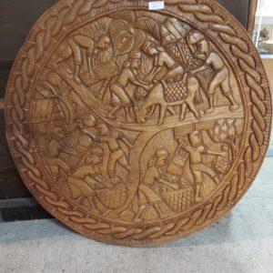 Authentieke Antieke handgesneden wandpaneel